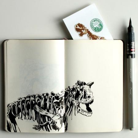 anna-lubinski-illustration-carnet-de-croquis-museum-squelette-dinosaure-dinosaur-skeleton