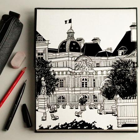 anna-lubinski-illustration-croquis-sketchbook-lieux-jardin-luxembourg