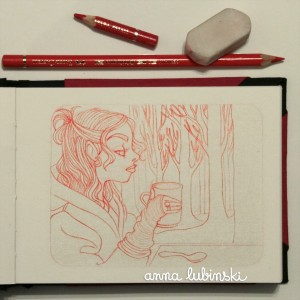 Étape 1: Croquis préparatoire au crayon de couleur Polychromos rouge (Pale Geranium Lake – 9201-121) de la marque Faber-Castell. / Step 1: Preparatory sketch with Polychromos red pencil (Pale Geranium Lake – 9201-121) from the Faber-Castell brand.