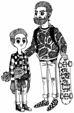 Anna Lubinski - Illustration - Inktober - Skater boy and his skater dad, with pattern