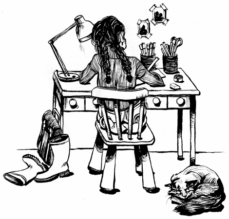 Anna Lubinski - Illustration - Inktober - Little girl drawing at her desk with her cat