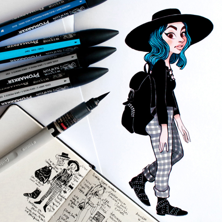 Anna Lubinski - Illustration - Parisian portraits - Blue hair girl
