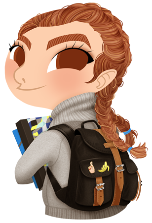 Anna Lubinski - Illustration - Cartoon portrait - Character design - Calendrier - Back to school. She is wearing a grey turtleneck pullover and has two braids. She is holding her notebook and she has an Herschels backpack with cute pins on it.