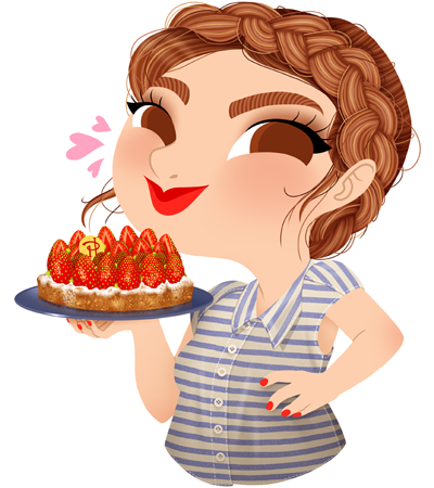 Anna Lubinski - Illustration - Cartoon portrait - Character design - Calendrier - Fathers Day. She is wearing a striped shirt and has a braided crown. She is holding a cake made by the famous french pastry cook Pierre Hermé.