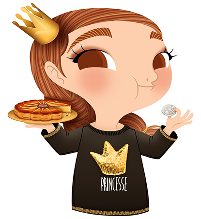 Anna Lubinski - Illustration - Cartoon portrait - Character design - Calendrier - Wearing an Etam sweatshirt with'Princesse' on it. The Galette des Rois (or known as the French King Cake) is a puff pastry stuffed with frangipane, traditionally enjoyed during the period of the Epiphany. It hides a fève (a small trinket), whoever find it in its slice becomes the king (or the queen) of the day.