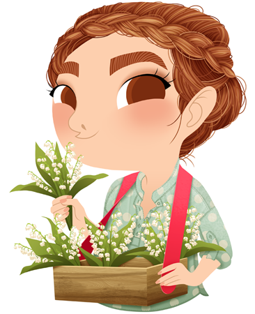 Anna Lubinski - Illustration - Cartoon portrait - Character design - Calendrier - 1st May Labor Day. She wears a green dotted shirt and has a braided crown. She has a wooden usherette tray. She sales some flowers: lily of the valley.