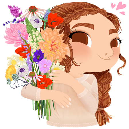 Anna Lubinski - Illustration - Cartoon portrait - Character design - Calendrier - Mothers Day. She is wearing a beige top and she is holding a bouquet of wild flowers. She has braided hair.