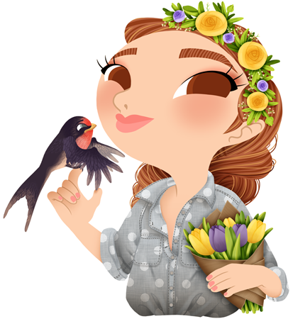 Anna Lubinski - Illustration - Cartoon portrait - Character design - Calendrier - Spring illustration. She is wearing denim shirt. She is holding a bouquet of tulips. She has a flower crown on the head. A swallow landed on her hand.