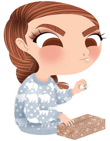 Anna Lubinski - Advent Calendar - Cartoon portrait - Character design - She wears a grey christmas sweater with bears on it. She is wrapping some christmas gifts in cute and winterly wrapping paper.
