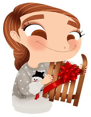Anna Lubinski - Advent Calendar - Cartoon portrait - Character design - She wears a grey christmas jumper with a snowman on it. She is holding a luge surrounded by a red ribbon.