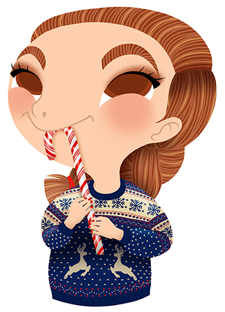 Anna Lubinski - Advent Calendar - Cartoon portrait - Character design - She wears a Christmas sweater. She is eating a candy cane.