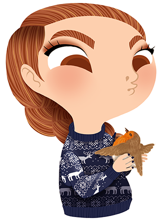 Anna Lubinski - Advent Calendar - Cartoon portrait - Character design - She wears a blue christmas sweater. She is holding a little robin in her hands.