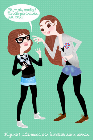 Anna Lubinski - Illustration - Cartoon portrait - Character design - Strip with the two sisters. Something about the no-glass glasses. They are wearing denim shorts, black tights, grey shoes, brown derbies, grey Metroplastique sweater and black vintage pullover.