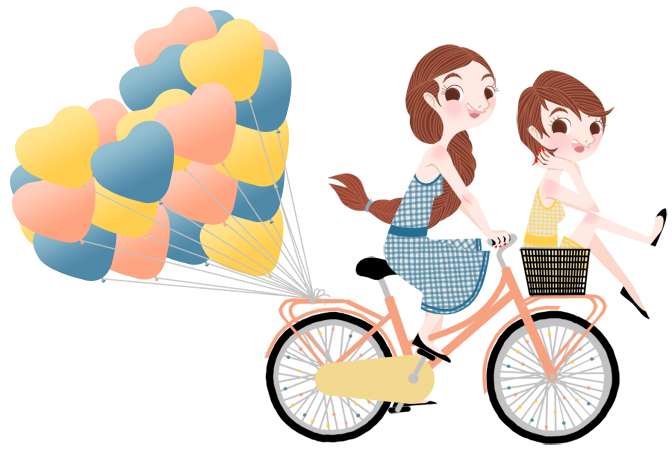 Anna Lubinski - Illustration - Cartoon portrait - Character design - Two girls on a pink vintage bicycle. They are wearing blue and yellow gingham print dresses. Heart shaped balloons are hooked to the back.
