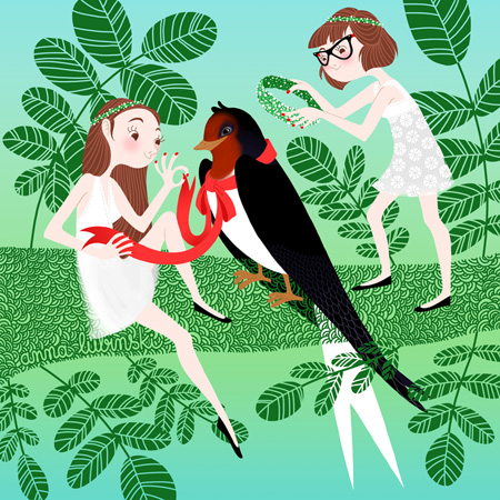 Anna Lubinski - Illustration - Cartoon portrait - Character design - The two sisters are celebrating spring. They are on a acacia tree with a swallow. They are wearing white dresses and floral crowns. They are putting a floral crown on the swallow's head and a red ribbon around its neck.