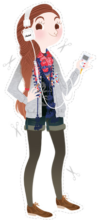 Anna Lubinski - Illustration - Self-portrait - Cartoon portrait - Character design - She wears: flowery scarf, Metroplastique vest, Obey tee shirt, jean shorts, brown derbies and Marshall headphones.
