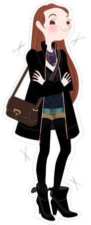 Anna Lubinski - Illustration - Cartoon portrait - Character design - Kind of classy classic outfit. She wears an almost black outfit, a long black trench coat, a purple graphic scarf, a grey top, denim shorts, black tights, black short boots with heel and a dark brown satchel handbag.
