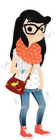 Anna Lubinski - Illustration - Léa - Cartoon portrait - Character design - Lazy day outfit. She wears : printed coral infinity scarf, burgundy bag with a rabbit on it and a pair of coral Nike.