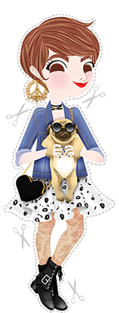 Anna Lubinski - Illustration - Monika - Cartoon portrait - Character design - Pug friend. She wears Obey's dress and earing, a heart shaped bag, a denim vest, tattoed tights and army boots. The pug wears round shaped sunglasses.