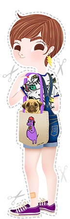 Anna Lubinski - Illustration - Monika - Cartoon portrait - Character design - Pug friend. She wears yellow earring in thunder shape , denim overalls, a Lazy Oaf totebag, a Snoopy tee-shirt and purple Converses.