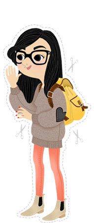 Anna Lubinski - Illustration - Léa - Cartoon portrait - Character design - Back to school. She wears: canvas backpack, pullover with heart shaped elbow patches, pastel pants and nubuck chelsea boots.