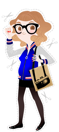 Anna Lubinski - Illustration - Cartoon portrait - Character design - She has an old fashion hair cut with an tie and die. She wears a blue coat. She has bold glasses. She wears a black short skirt and black tights. She has a tote bag with an camera on it.