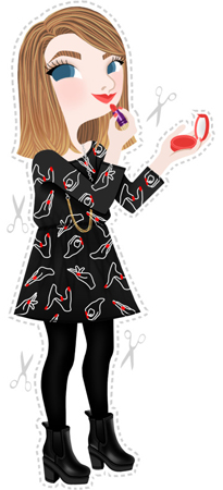 Anna Lubinski - Illustration - Estée from Essiebutton - Cartoon portrait - Character design - She wears : black Monki dress with hands on it. She uses Tarte cosmetics.