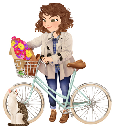 Anna Lubinski - Illustration - Cartoon portrait - Character design - Angéline from the blog Carnet Prune with her cat and a bike. She wears a beige trench coat, a blue check shirt, blue jeans and brown shoes. The bike is a vintage bike. There is a bouquet of flowers and her satchel bag in the basket of her bike. There is a cute cat sitting.