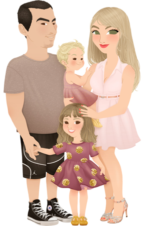 Anna Lubinski - Illustration - Family portrait - Cartoon portrait - Character design - A cute couple with their two little girls. The dad is wearing plain taupe tee shirt, basketball shorts and classical converse. The mom is blond hair, she is wearing light pink dress and rose gold details: glittery shoes and belt. The baby girl is wearing a pink dress and yellow baby shoes. The biggest girl is wearing a purple dress with glittery dots and she wears yellow shoes.