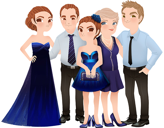 Anna Lubinski - Illustration - Family portrait - Cartoon portrait - Character design - Family Portrait in blue tones. Women are wearing blue dresses and men are wearing shirts and ties. They are classy dressed.