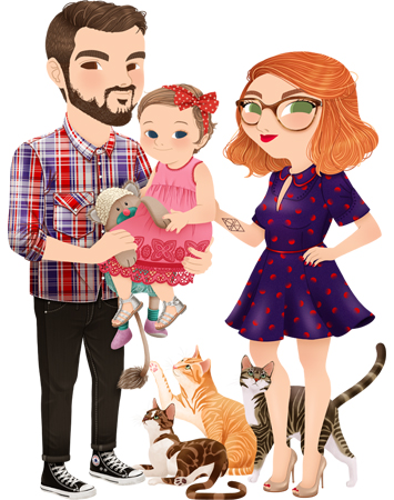 Anna Lubinski - Illustration - Family portrait - Cartoon portrait - Character design - A cute couple with their baby girl and their three cats. The dad is wearing: a Lee plaid shirt, black trousers, black converses and he is holding his daughter. The little girl is wearing: a pink dress, a red dotted headband, silver sandals and she holds her teddy. The mum is red haired, she wears: big glasses, a blue vintage dress and nude heels.