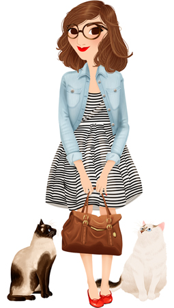 Anna Lubinski - Illustration - Cartoon portrait - Character design - A cute girl with her two cats. There are two cats, a Siamese and a Persian. The girl is wearing a black and white striped dress, a light blue denim jacket, red ballerinas and red lipstick. She holds a brown bag.