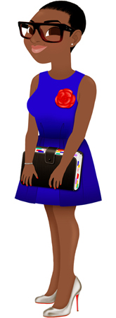 Anna Lubinski - Illustration - Personnalized portrait - Cartoon portrait - Character design - A beautiful black woman, with short hair cut, wears blue dress, with a red camelia brooch, oversize glasses, she wears louboutin shoes and she holds an organizer.