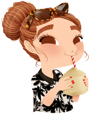 Anna Lubinski - Illustration - Cartoon portrait - Character design - Summer essentials - She is drinking young coconut water. She is wearing a shirt with a palms pattern and tortoise shell sunglasses. Her hair are in a bun.