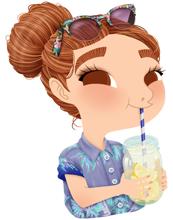 Anna Lubinski - Illustration - Cartoon portrait - Character design - Summer essentials - She is drinking lemon infused water. She is wearing a jean shirt with palms/tropical pattern and liberty/tropical sunglasses. Her hair are in a bun.
